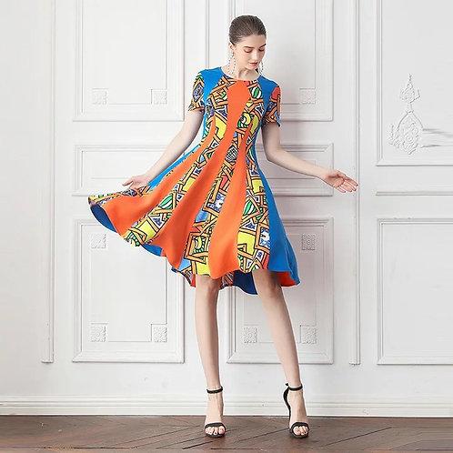 Alinah geometric mulberry silk dress