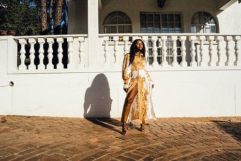 Baroque print maxi dress