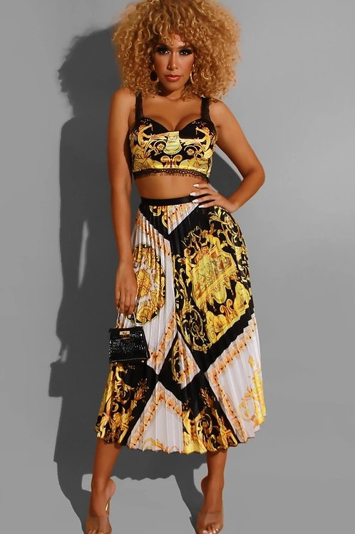 Meander print two piece set