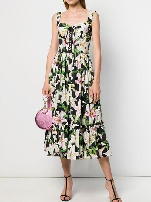 Lily print green midi  dress