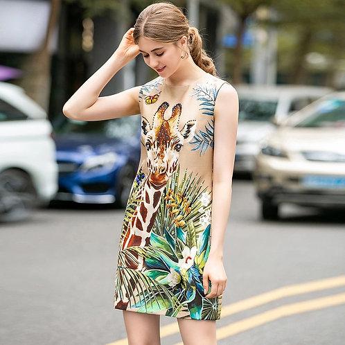 Giraffe print A-line mini resort wear dress