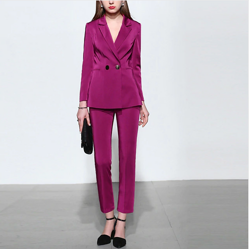 Deep Magenta Silk Suit