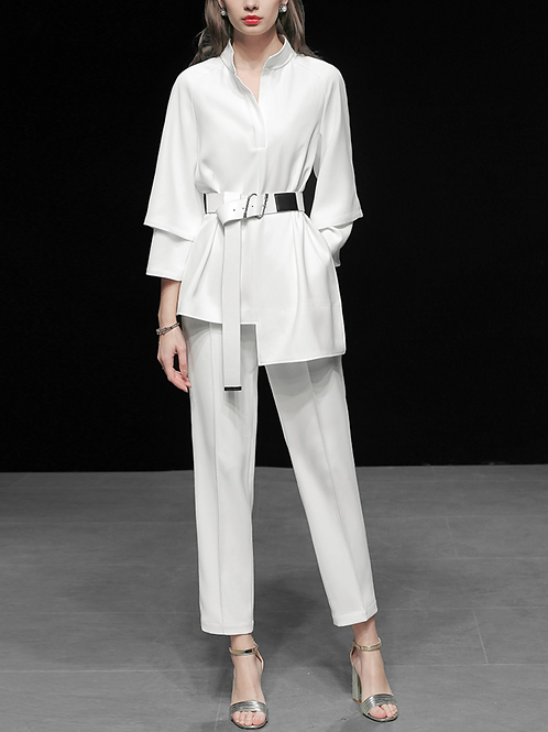 White shirt and pants set (belt included)