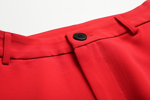 Red suit with crop pants