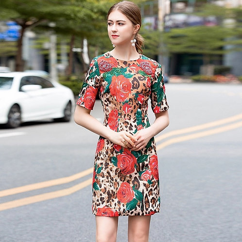 Short sleeve leopard and rose print dress