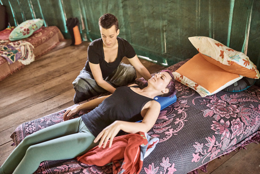 Helping People With Back Pain on Safe Ayahuasca Plant Spirit Healing Retreat - Restorative Yoga