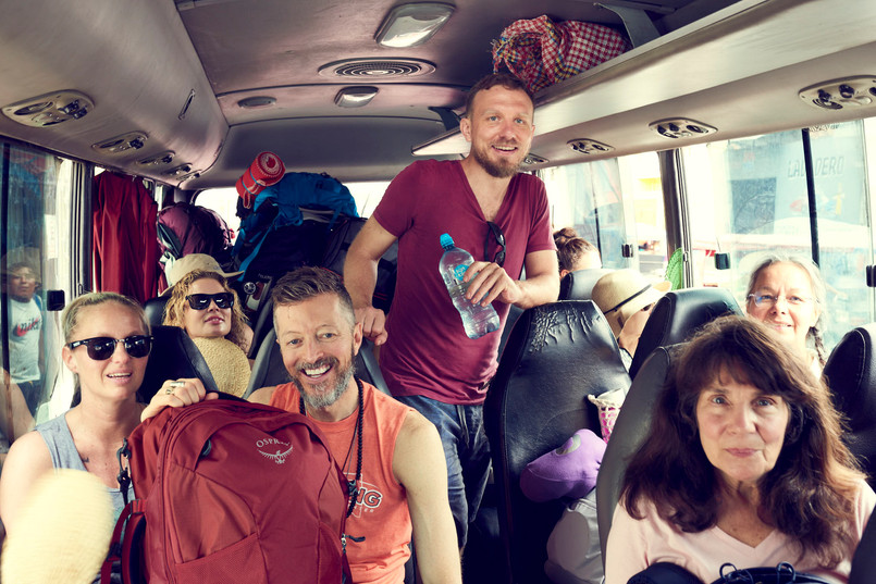 Bus ride with excited passaejeros ready to change their life with plant medicine - bus ride to the boat - Casa Galactica