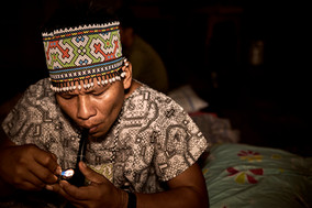 Curandero Urias Smoking Pipe - Shipibo Tradition - Ayahuasca Ceremony - 2 Week Ayahuasca Healing Retreat in Peru - Casa Galactica