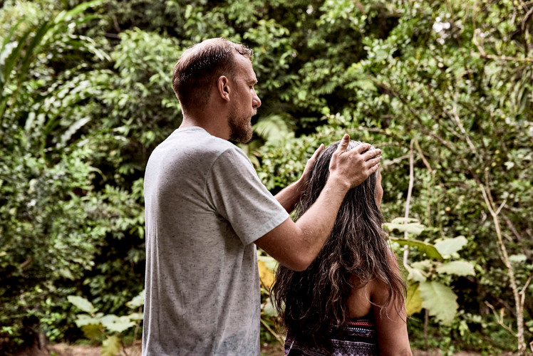 Praying to the Plants to Help a Participant Before Shipibo Plant Bath - We Teach Plant Spirit Communication at Casa Galactica