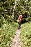 Shipibo Curandero Urias Teaching About Plant Medicines on a Jungle Walk as Part of Our 2 Week Ayahuasca Plant Spirit Healing Retreats