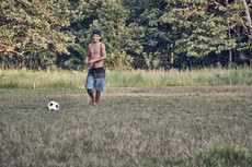 Playing soccer with local Mishana Community on our Ayahausca Plant Spirit Healing Retreats - Casa Galactica