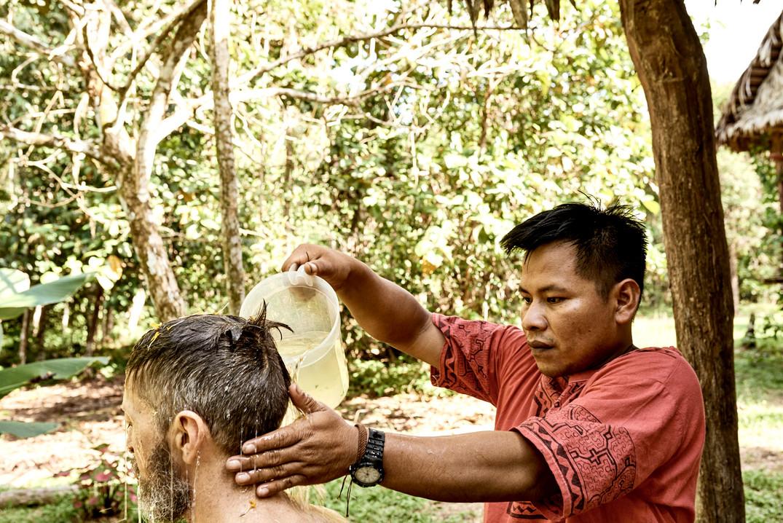 Shipibo Curandero Urias Giving a Plant Bath on Our 2 Week Ayahuasca Plant Spirit Healing Retreat