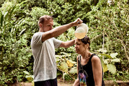 Michael Administering Shipibo Plant Treatment - Flower Bath on Our 2 Week Ayahuasca Plant Spirit Healing Retreat Peru