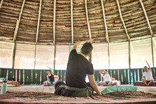 Jessica Teaching a Integrative and Restoriative Yoga Practice as Part of Our 2 Week Ayahuasca Plant Spirit Healing Retreat