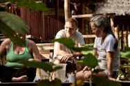 Michael Helping Passajeros Through an Emotional Process on Our Ayahuasca Plant Spirit Healing Retreat in Peru - Casa Galactica