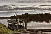 Boat on the Banks of the Mishana Community - Home of Casa Galactica Ayahuasca Retreats & Noya Rao Dietas
