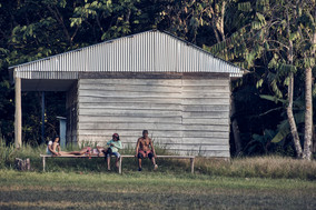 Watching the soccer game at the Mishana Community - Ayahuasca healing retreats in the Amazon Rainforest - Casa Galactica