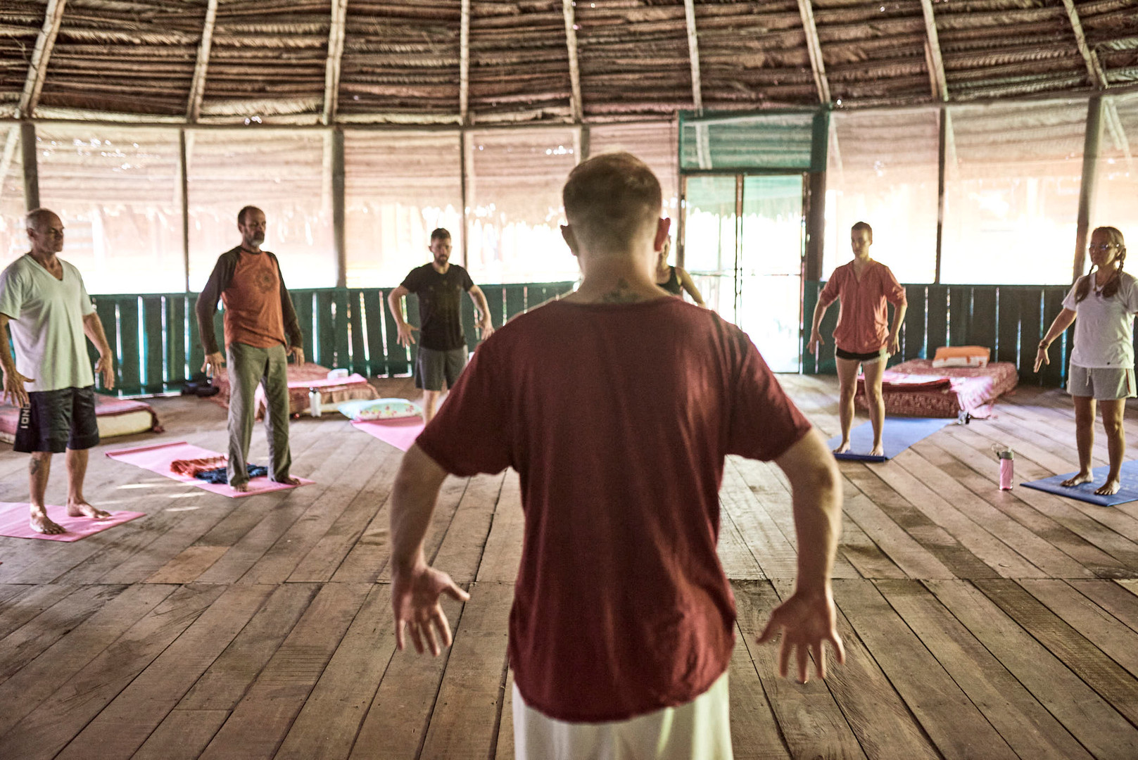 Michael leads a Qi Gong Class part of our Ayahuasca Plant Spirit Healing Rtreats ^ Noya Rao Initiation Dietas