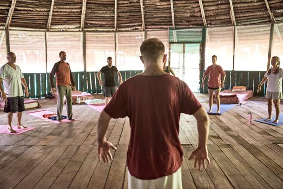 Michael leads a Qi Gong Class part of our Ayahuasca Plant Spirit Healing Rtreats ^ Noya Rao Initiation Dietas