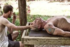 Patrick Helping a Passajero After Shipibo Vapour Bath - Feeling a state of Calm - Best Way to Prepare for Ayahuasca Ceremony