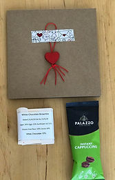 Hand made card, Instant capuccino, White chocolate brownie