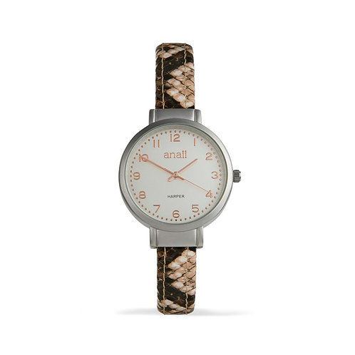 Harper Watch - Coffee Snakeskin