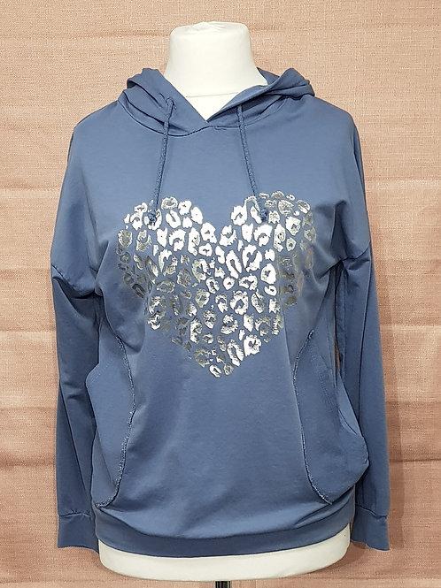 Silver heart denim hoodie