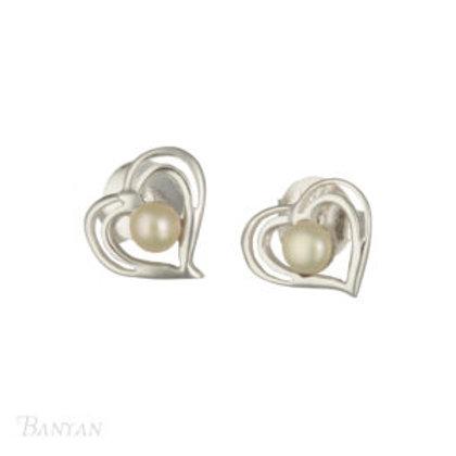 Sterling Silver Heart shaped & Pearl Stud Earrings
