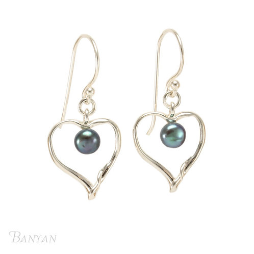 Sterling Silver and Black Pearl Heart Earrings