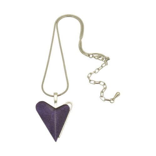 Purple Skewed Heart Necklace