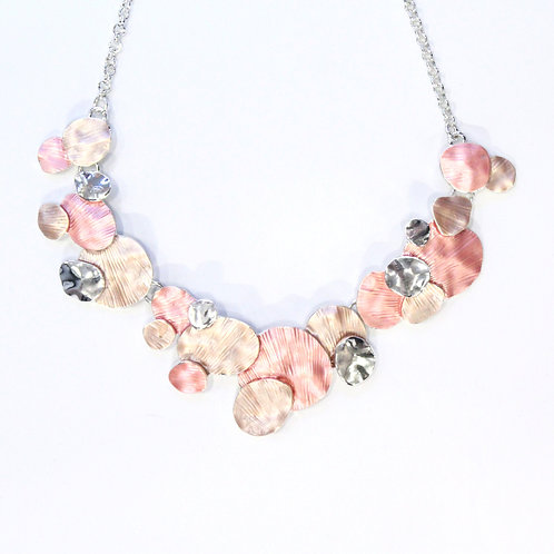 Miss Milly Hammered Necklace - Pink