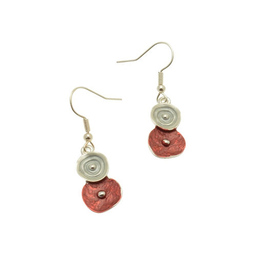 Red & Grey Earrings