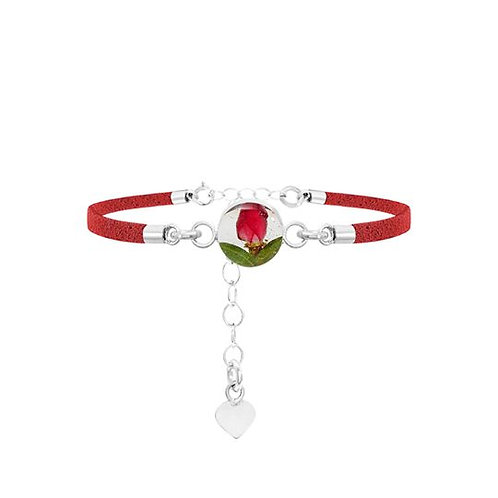 Red Rose Bud Round Bracelet
