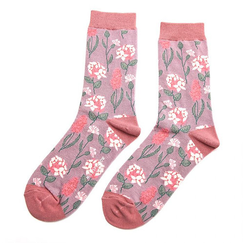 Vintage Floral Bamboo Socks - Lavender