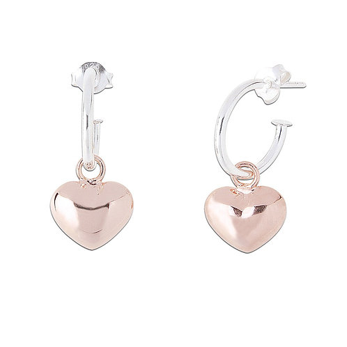 Sterling Silver Hoop Earring with rose gold colour Heart