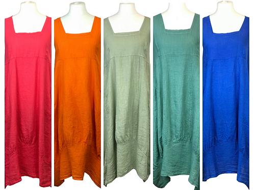 Linen Square Neck Dress