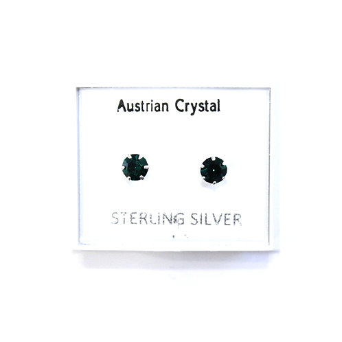 Crystal Studs - Forest Green