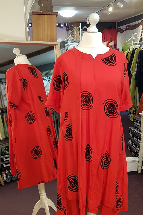 Bella Blue Red and Black Spiral Dress
