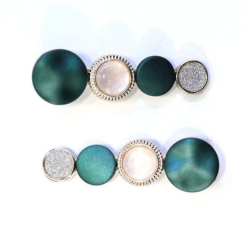 Gemstone Hair Clips - Emerald