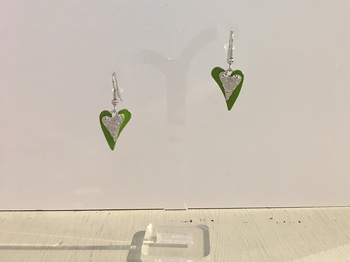 Miss Milly - Green /Silver Heart drop earrings