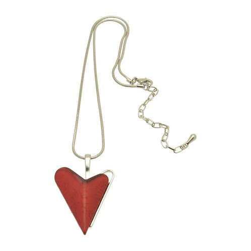 Red Skewed Heart Necklace