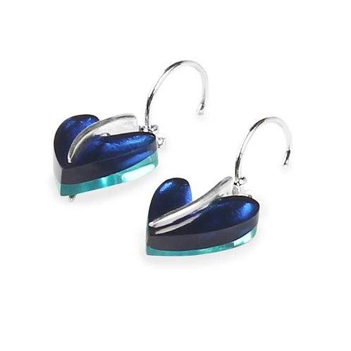 Double Sided Heart Earrings - Blue