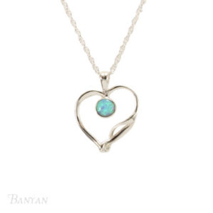 Quirky Sterling Silver Heart and Opalite stone Pendant and Chain