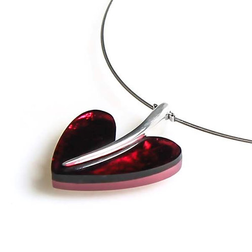 Double Sided Heart Necklace - Pink