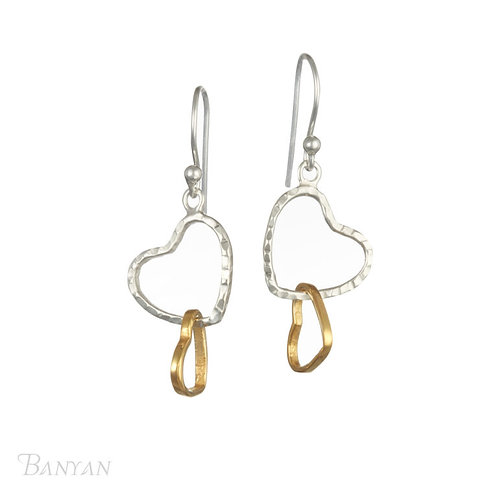 Dual effect sterling silver & brass earrings