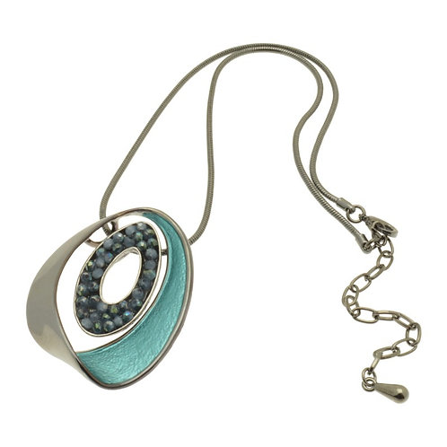 Teal Oval Necklace