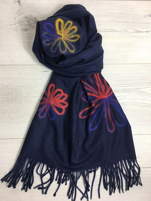 Woven Floral Cashmere Scarf - Navy