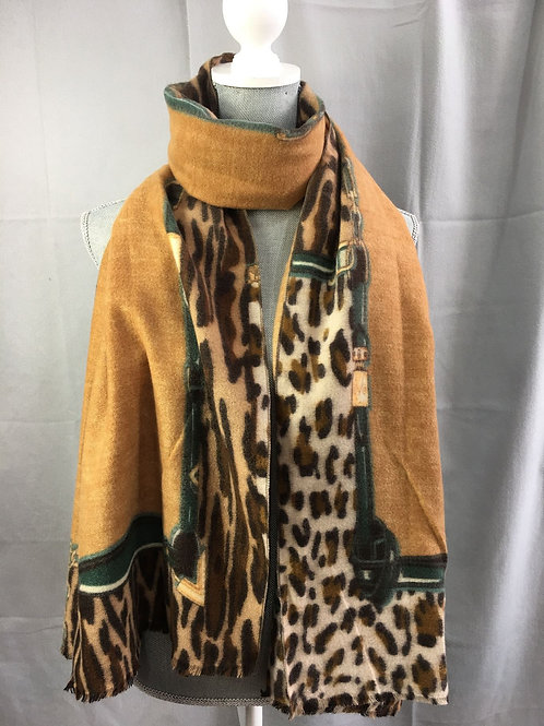 Leopard Print Border Wool mix Scarf - Tan