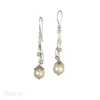 Ornate Pearl drop Sterling Silver Earrings