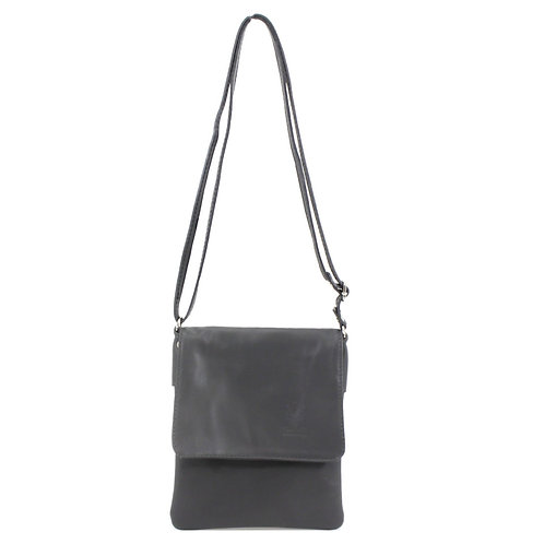 Italian Leather Handbag - Dark Grey